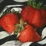 Strawberries and Silk 29 X 29 Watercolor $1200