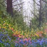 Woodland Blossoms 17.5 X 22- Framed Watercolor $1450