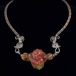 Coral Spice (3 petal salmon flower on wire) Sterling Silver neck wire and lampwork beads  PEN032 $447.00