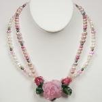 Jewel Rose Pink Rose with Pearls, Sterling Silver, 3 Lampwork Beads  PEN007 $647