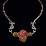 Peach Cream Peach Rose with 2 Side Buds:  Copper and Sterling Silver Neck Wire, 3 Lampwork Beads  PEN035 $617