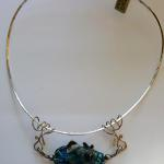 Blue Stripey Fish on Wire Sterling Silver neck wire and Lampwork Beads  PEN033 $467