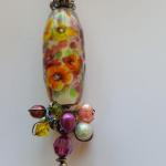 Flower Floats Pansy like flowers Encased Lampwork Bead, SS, Swarovski Crystals PEP009 $207