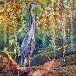 Great Blue Heron 18 X 24 Watercolor Batik $1050