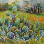 Bluebonnets and Cactus  Watercolor Batik 18 x 24 $1100