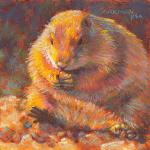 P is for Prairie Dog 6 x 6 Pastel $250