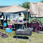 Chuck Wagon Breakfast 27 x 35 Framed size Watermedia $1850