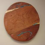Mesquite Lazy Susan with Turquoise Inlay