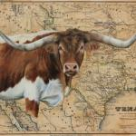 Totally Texas 24 X 30 Acrylic on Vintage Map $1800