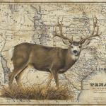 Mule Deer 24 x 30 Acrylic on Vintage Map $1800