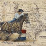 Barrel Racer 24 x 30 Acrylic on Vintage Map $1800