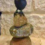 Owl on a Cairn Clay on natural rock $225