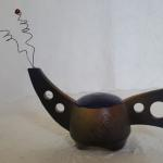 Tiny Tea Pot - Blue Top Ceramic #225 $35  Sculptural, Not Functional
