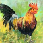 Rooster in the Park 9 x 6 Pastel