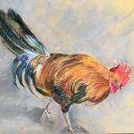 Rooster on Concrete 9 x 6 Pastel