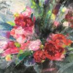 "Peonies in Cellophane 12"" x 16"" Pastel $485"